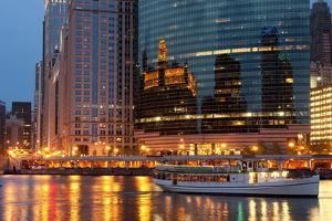 Chicago River and Skyline at Dusk in Summer with Boats by Alan Klehr