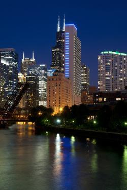 Chicago Skyline and River from Grand Avenue Bridge by Alan Klehr
