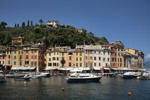 Italy, Province of Genoa, Portofino. Fishing village on the Ligurian Sea, overlooking harbor by Alan Klehr