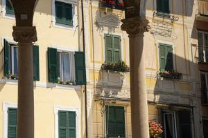 Italy, Province of Genoa, Rapallo. Colorful buildings in resort setting by Alan Klehr