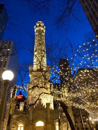 Old Water Tower with holiday lights, Chicago, Illinois, USA