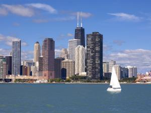 Skyline and Lake Michigan, Chicago, Illinois, USA by Alan Klehr