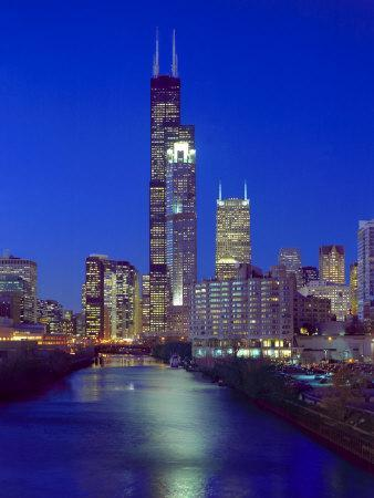 Skyline at night with Chicago River and Sears Tower, Chicago, Illinois, USA