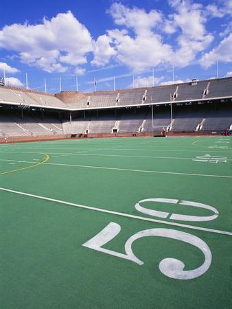 50 Yard Line on Empty Football Field