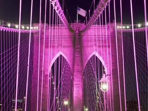Brooklyn Bridge Lit Purple by Alan Schein