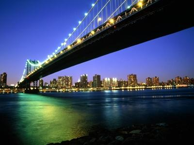 Manhattan Bridge and Skyline at Dusk