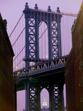 Manhattan Bridge, Empire State Building, New York City, USA by Alan Schein