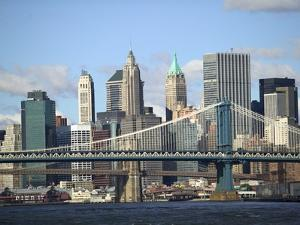 Skyline of New York City with East River, Manhattan and Brooklyn Bridge by Alan Schein