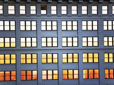 Sunset Reflection From Office Building Windows