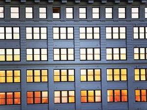 Sunset Reflection From Office Building Windows by Alan Schein