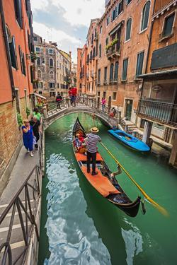 Tourists Travel on Gondolas at Canal by Alan64