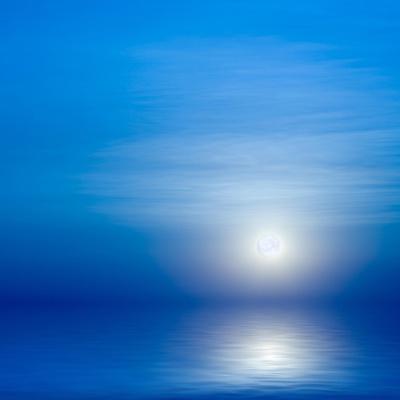Moon, Sky And Blue Sea