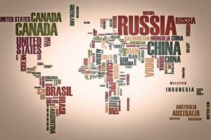 World Map: Countries In Wordcloud by alanuster