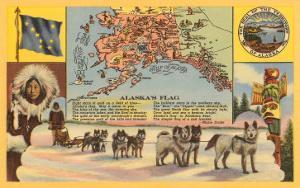 Alaska Map with Sled Dogs