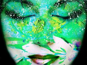 A Collage of Close-Up Portraits Layered with Flowers and Waterdrocps in Mainly Green and Blue Color by Alaya Gadeh