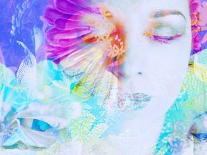 A Collage of Close-Up Portraits Layered with Flowers in Rainbow Colors by Alaya Gadeh