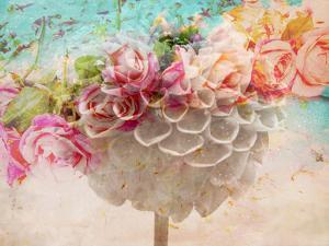A Dreamy Romantic Floral Montage of a Pon Pon Dahlia with Roses, Photography, Many Layer Work by Alaya Gadeh
