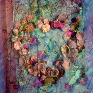 A Floral Montage of Roses and Seashells on a Book by Alaya Gadeh