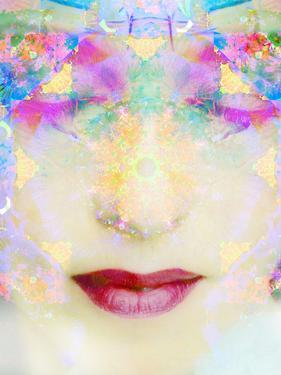 A Montage of a Portrait of a Woman with Closed Eyes and Ornaments Out of Flowers by Alaya Gadeh