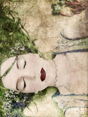 A Portrait of a Woman with Closed Eyes, Green Hair and Full Red Lips by Alaya Gadeh
