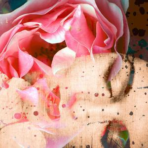 Close-Up Portrait of a Womans Face with Floral Layers by Alaya Gadeh
