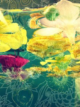 Composing, Yellow and Crimson Blossoms in Green Water, Floral Ornaments by Alaya Gadeh