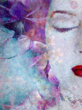 Montage of a Portrait with Flowers and Texture by Alaya Gadeh