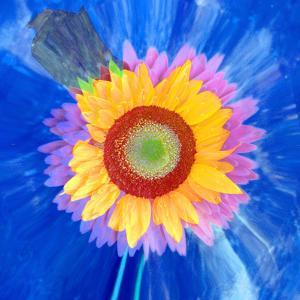 Montage of a Sunflower and Dahlia by Alaya Gadeh