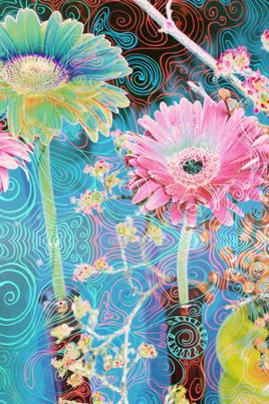 Photomontage of Gerbera in Vase with Ornate Hand Subscriptions by Alaya Gadeh