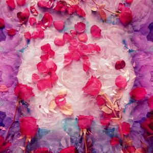 Photomontage of Red Roses and Floralen Ornaments by Alaya Gadeh