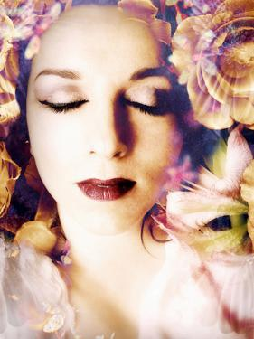 Poetic Montage of a Portrait with Flowers by Alaya Gadeh