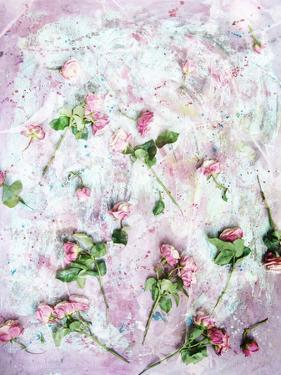Poetic Photomontage of Pink Roses on Painted Ground with Textures of Floral Ornaments by Alaya Gadeh