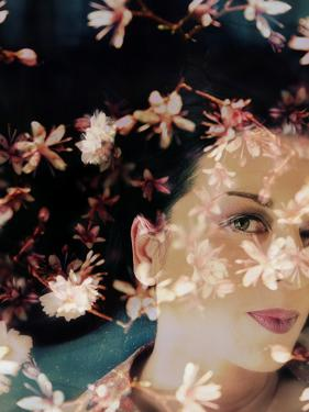 Portrait Layered with Flowers by Alaya Gadeh