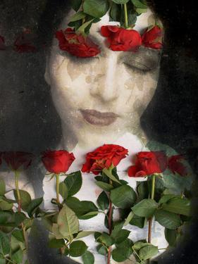 Portrait of a Woman with Flowers with Red Roses by Alaya Gadeh