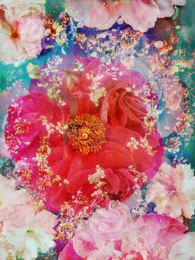 Red Blooming Rose Blossom with Cherry Blossoms Ornaments from Spring Trees by Alaya Gadeh