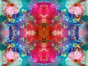 Symmetric Floral Montage with Red Blooming Rose Blossom, Cherry Blossoms and Spring Trees by Alaya Gadeh