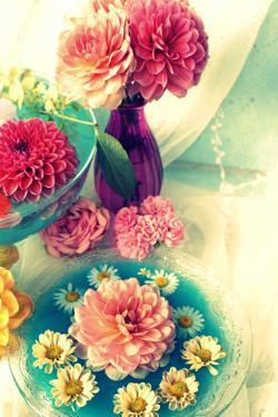 Table Decoration, Coloured Blossoms and Water Bowl by Alaya Gadeh