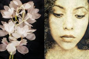 Tryptich of a Portrait of a Woman with Textures and Floral Ornaments with an Orchid by Alaya Gadeh