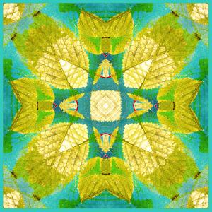 Yellow Leafes in Green Blue Water, Photohraphic Symmetric Layer Work by Alaya Gadeh