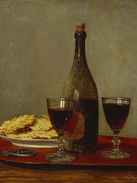 A Still Life of Two Glasses of Red Wine, a Bottle of Wine, a Corkscrew and a Plate of Biscuits on… by Albert Anker