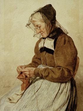 Alte Frau strickend (Old Woman Knitting) by Albert Anker