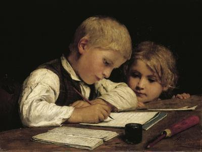 Boy Writing with His Sister, 1875
