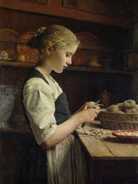 The Little Potato Peeler, 1886 by Albert Anker