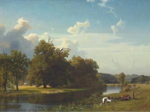 A River Landscape, Westphalia, 1855 by Albert Bierstadt