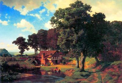 Albert Bierstadt A Rustic Mill Art Print Poster