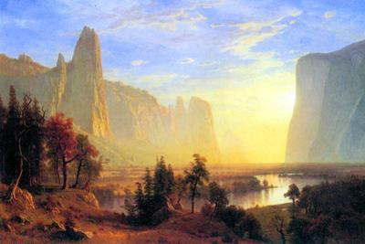 Albert Bierstadt Yosemite Valley Sun Rise Plastic Sign by Albert Bierstadt