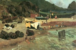 Fishing Boats in Capri by Albert Bierstadt