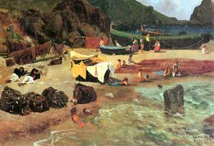 Albert Bierstadt Fishing Boats on Capri Art Print Poster