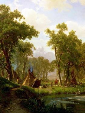 Indian Encampment, Shoshone Village, 1860 by Albert Bierstadt