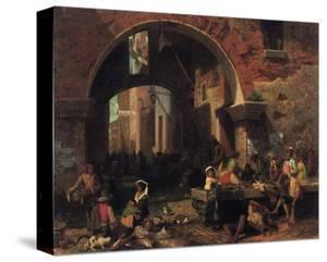 Roman Fish Market by Albert Bierstadt